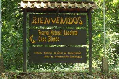 sign to entrance of Cabo Blanco Nature Reserve